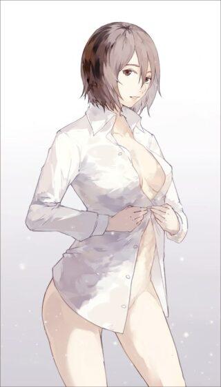 【2次】裸ワイシャツ姿のエッチな女の子のエロ画像